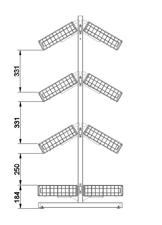 Стойка двухсторонняя (8 корзин)